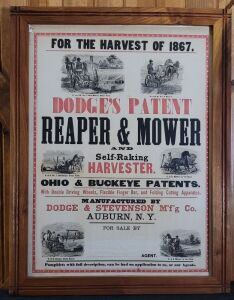 Dodge's Patent Reaper & Mower and Self-Raking Harvester framed lithograph print