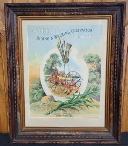 Garden City Riding & Walking Cultivator Combined framed lithograph print