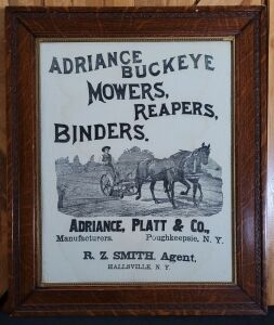 Adriance Buckeye Mowers, Reapers, Binders framed lithograph print