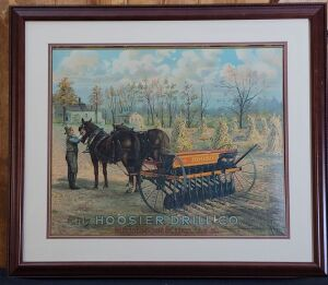 Hoosier Drill Co. Richmond, Ind. USA framed lithograph print