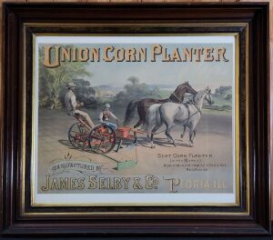 Union Corn Planter framed lithograph print