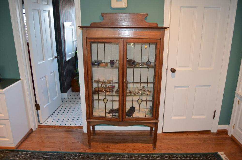 Lot 53 Of 137 Leaded Gl Curio Cabinet