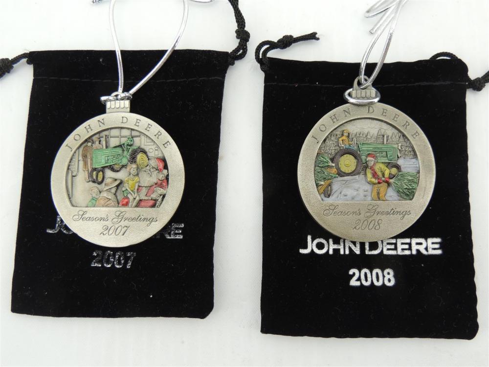 2)-John Deere Pewter Christmas Ornaments including