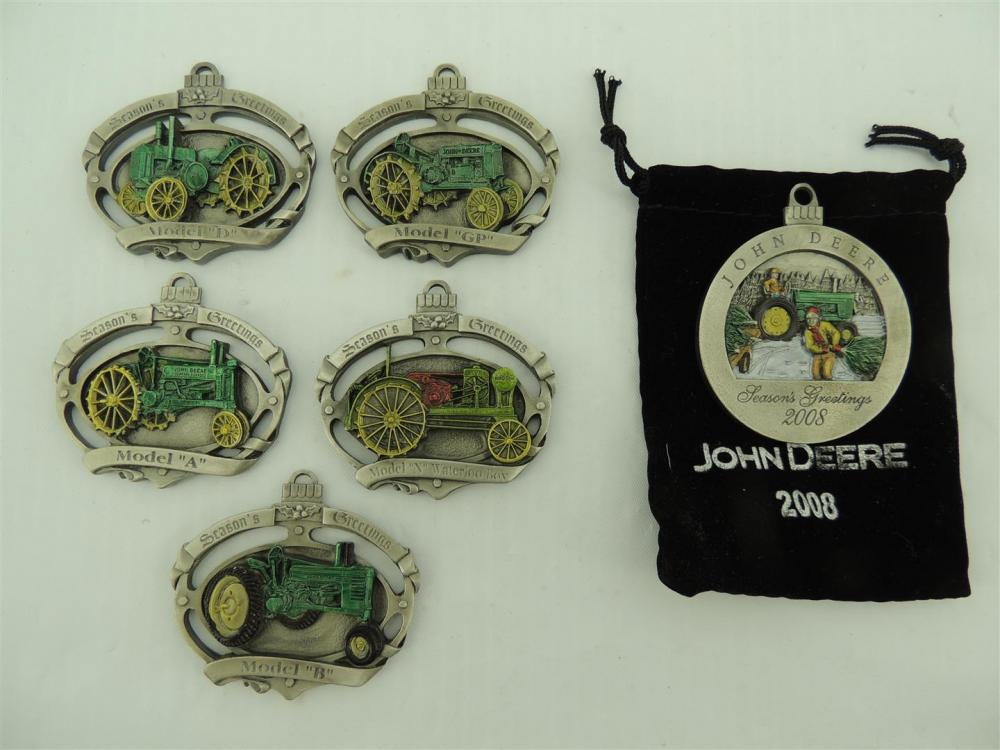 6)-John Deere Pewter Christmas Ornaments including