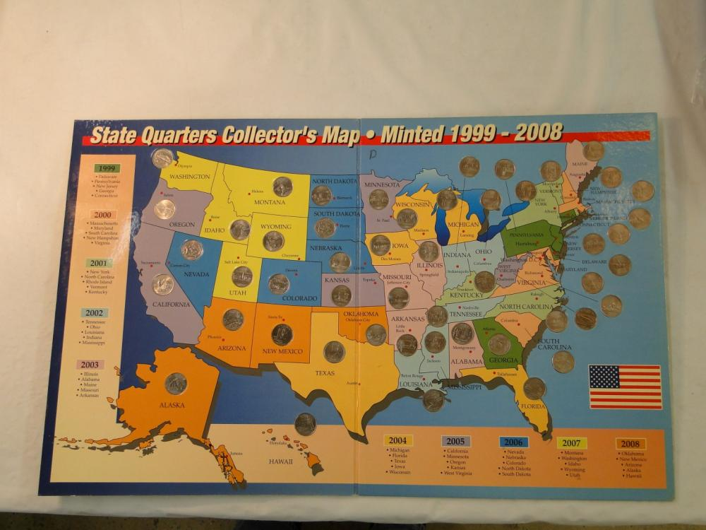 2) First State Quarters of the United States Collector\'s Map With ...