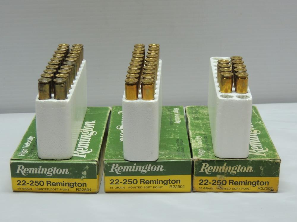 ammunition remington 22 250 3 full boxes