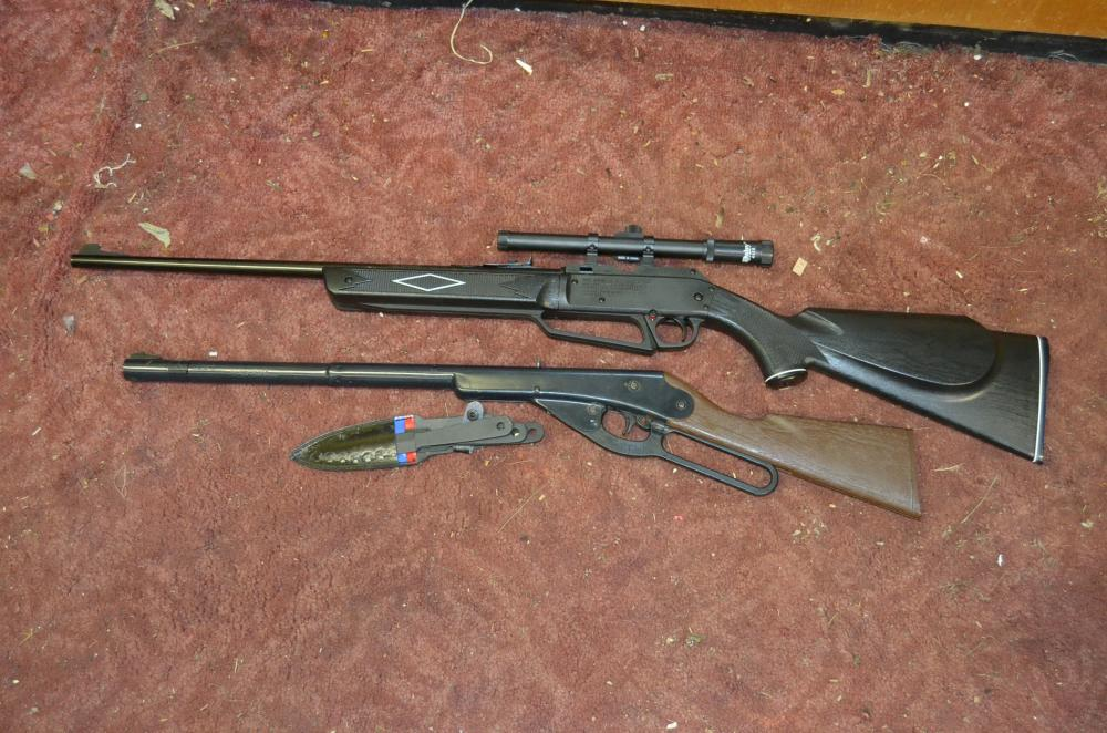 2) Daisy BB Guns and Throwing Knives