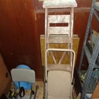 4' wooden step ladder and Cosco 2-step stool