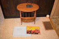 Oak Side Table and Antiques Lot