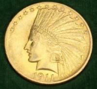 1911  $10 Gold Coin - Indian